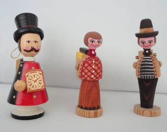 Three Wooden Hand Painted German Figurines