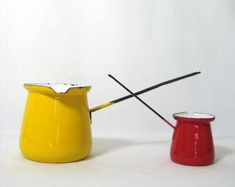 Enamelware Turkish Coffee Pots Yellow Red Dippers Vintage Cevke Ibrik Briki Long Handles
