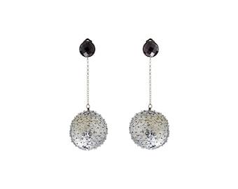 Disco ball drop earrings, Big orb earrings, silver sequin earrings, handmade jewelry, Hanging ball dangle party earrings for her