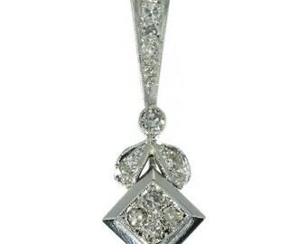 Flower diamond pendant square shape platinum brilliant cut diamonds .50ct vintage pendant