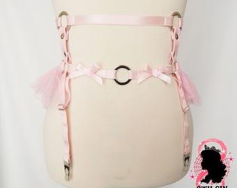Pink Faux Leather Frill Garter Belt, Pink Ruffle Garter Belt, Pink Faux Leather Garter Belt, Pink Tutu Garter Belt, Pink O Ring Garter Belt