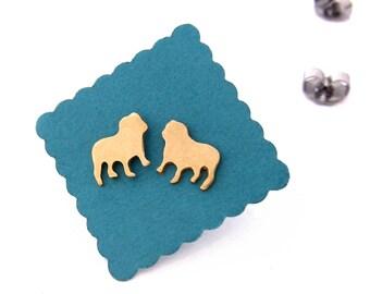 Bulldog Stud Earrings in silver or brass