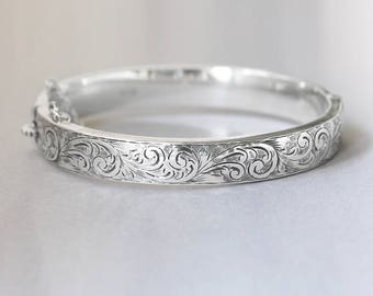 Vintage Birks Sterling Silver Bangle, Swirl Engraved 1967 Hallmarked Bracelet with Clasp and Safety Chain - Enchanted