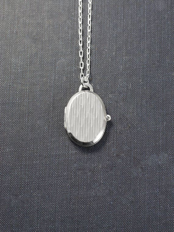 Unique Sterling Silver Locket Necklace, Rare Small Oval Sterling Vintage Photo Pendant - Harlequin Ridges