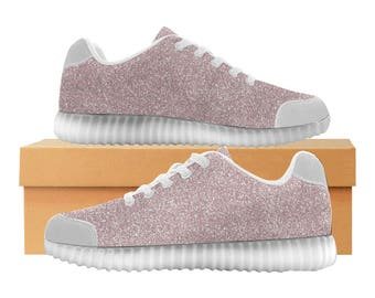 Rose Pink Glitter LED Light Up Shoes | Kids & Womens Sizes | High Stretch Upper | EVA Mesh Fabric Insole | 7 Colors | Street Artist Design