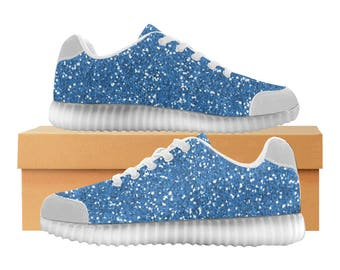 Blue Glitter LED Light Up Shoes | Kids & Womens Sizes | High Stretch Upper | EVA + Mesh Fabric Insole | 7 Colors | Bold Street Artist Design