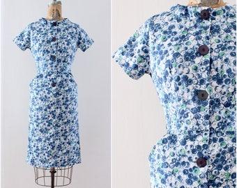 1950s Blue Dress Extra Small Wiggle Dress Sheath Cotton Day Dress Circle Print Novelty Rockabilly Pinup VLV Mad Men Spring Dress Midcentury