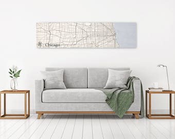 Chicago IL Map, Chicago Map Art, Oversized Map, Large Canvas Map, Wide Format Vintage Map, Poster Canvas