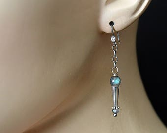 FREE SHIPPING---Labradorite Cone Dangle Earrings---Sterling Silver---Creations by Sandy