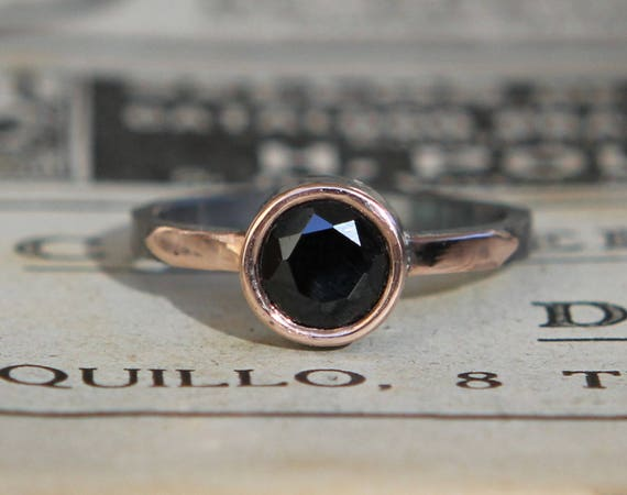 Hammer Forged .90Ct Black Spinel 14kt Rose Gold And Oxidized Sterling Silver Ring Size 6.5