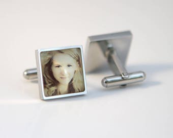 Custom photo gift Custom Photo Cuff links Square cuff links STAINLESS STEEL Custom Logo Cufflinks, Custom Logo gift,cuff links Gift