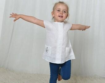 Girls shirts, linen shirt, linen clothing, toddler shirts, linen tunic tops, girls tunic, girls tops, linen clothes, white shirt basic