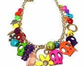 Colorful Day of the Dead Statement Necklace, Skull Charm Necklace, Dia De Los Muertos Jewelry