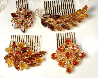 OOAK Autumn Wedding Hair Combs, 1 Vintage Topaz & Brown Rhinestone Gold Bridal Hairpiece/Bridesmaid Gifts Rustic Chic Country Fall Headpiece