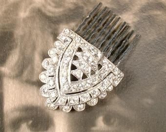 OOAK Original Art Deco Rhinestone Bridal Hair Comb, 1920s Small Heirloom Crystal Silver Dress Clip Hairpiece Vintage Wedding Gatsby Flapper