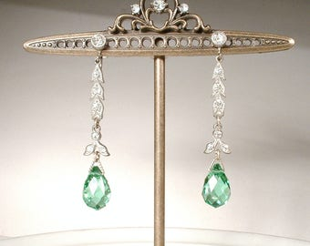 HOLD Antique Art Deco Green Crystal Paste Rhinestone Earrings, 1920 Pave Dangle Bridal Statement Drop,Gatsby Vintage Wedding Silver Screw On