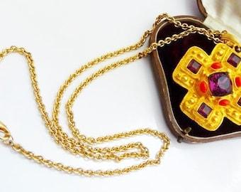 vintage KJL Maltese cross necklace   Kenneth J Lane jewelry   matte gold tone   vintage jewelry   runway fashion statement   Etruscan style