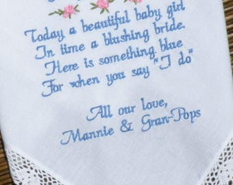 Dedication Gift, Dedicated Gift, Baptism Gift, Girl Christening Gift Baby Handkerchief Gift For Goddaughter For Godchild