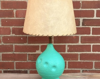Vintage Turquoise Ceramic Bowling Ball Lamp with Fiberglass Shade