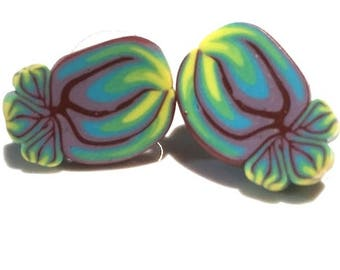 Stylized Flower Earrings . Posts . Polymer Clay . Green and Blue