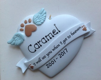 Personalized Christmas Ornaments- In Memory of Pet - Cat , Dog - RIP, In Loving Memory