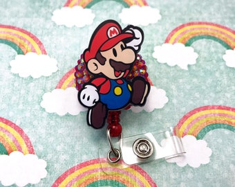 Super Mario Nintendo Nerd Geek Gamer Girl Rhinestone Video Game Bling Womens Retractable ID Badge Reel Name Tag Work Nurse Rn Cna Technician