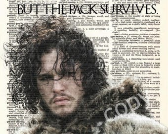 Dictionary Art Print of Game of Thrones Jon Snow