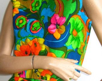 Vintage 60s Hawaiian Cotton Wide Leg Palazzo Pants & Crop Top Luau Party Hostess Set