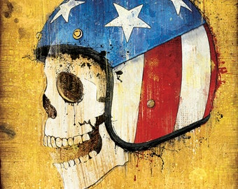 """Easy Rider's """"Captain America"""" - 12x18 Officially Signed, Dated and Hand-Stamped Art Print"""
