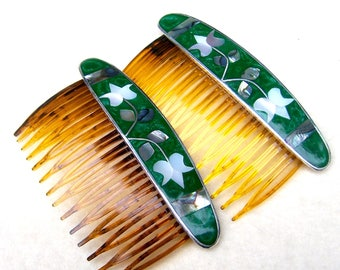 2 mother of pearl inlay hair combs Mexican hair accessories abalone inlay hair ornament decorative comb (AAI)