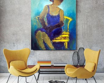 Figure Lady Navy Blue teal Turquoise Abstract oil canvas XL painting oversized figurative Modern art Extra large canvas feminine art 90x110