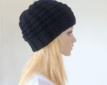 Mens Black Beanie Womens Knit hat Luxury Merino beanie