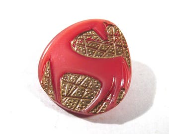 Czech HORSE Button Art Deco Style Horse VINTAGE Czech Glass Button One (1) Pink Czech Glass Mod Horse Vintage Button Jewelry Supply (J214)