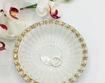 Vintage Ring Dish, Gold & White, Porcelain Dish, China Saucer, Round Dish