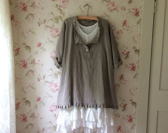 Washed Linen Tunic Dress Natural Linen Lagenlook 52 Bust Ruffles Plus Size Button Front