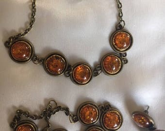 Amber glass discs on bronze 24 inch necklace, 7 inch bracelet and earrings