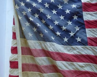 Vintage American Flag 50 star Faded weathered Stars and Stripes Patriotic 3 x 5 foot cotton