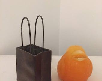 BRASS BAG SCULPTURE, Small Brass Bag, Brass Bag, Gift Bag, Holiday Bag, Brass Sculpture, Solid Brass Bag at Modern Logic