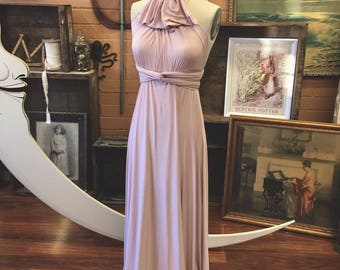 "Ready Made- Petite, 46""L Sahara Rose Gold Silky Satin Maxi Infinity Wrap Gown- Pale Dogwood - Bridesmaids, Wedding, Maternity, Plus Size"