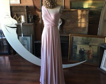 "Ready Made- Standard, 46""L Sahara Rose Gold Silky Satin Maxi Infinity Wrap Gown- Pale Dogwood - Bridesmaids, Wedding, Maternity, Plus Size"