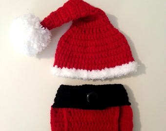 Crochet Santa Outfit, Newborn Santa Hat with Adjustable Diaper Cover, Baby Shower Gift, Newborn Photo Prop, Red Crochet Stocking Hat