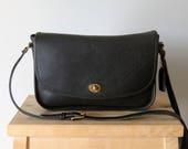 Vintage Coach City Bag - Made in USA - Black Leather Purse - Crossbody Bag - Everyday Purse - Classic Authentic