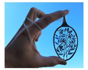 Flower Pendants, Statement Pendants, Floral Necklaces, Floral Statement Necklace, Stargazer Lily Spoon Pendant, Stargazer Lily Eco Pendants