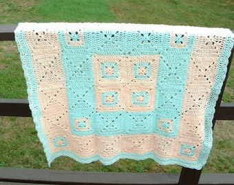 Crochet Granny Square Couch Throw Green Peach Handmade Boy Or Girl Gift Bedding Snuggle Binky Soft Baby Blanket