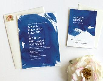 Navy Watercolor Wedding Invitation, Modern Wedding Invitations, Wedding Invitation Suite, Indigo Blue Watercolor