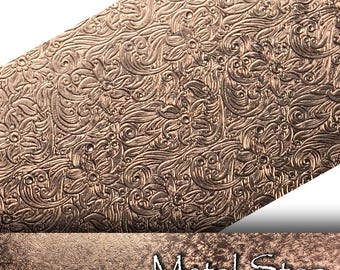 """Textured Copper 24 gauge Sheet Metal 2.5"""" x 12"""" - Flower and Swirl tipped leaf Texture Pattern Solid Copper Sheet Metal 85"""