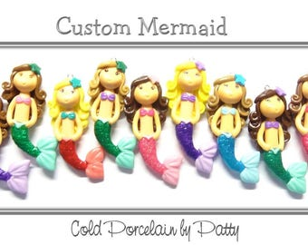 Custom Cold Porcelain Little Mermaid Clay Figurine, Pendant, Purse Charm, Mermaid Ornament, Bow Center, Magnet, Mermaid Necklace