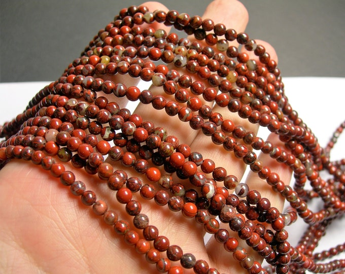 Brecciated Jasper - 4mm(4.3mm) round beads - 1 full strand - 92 beads - Poppy jasper - RFG1335