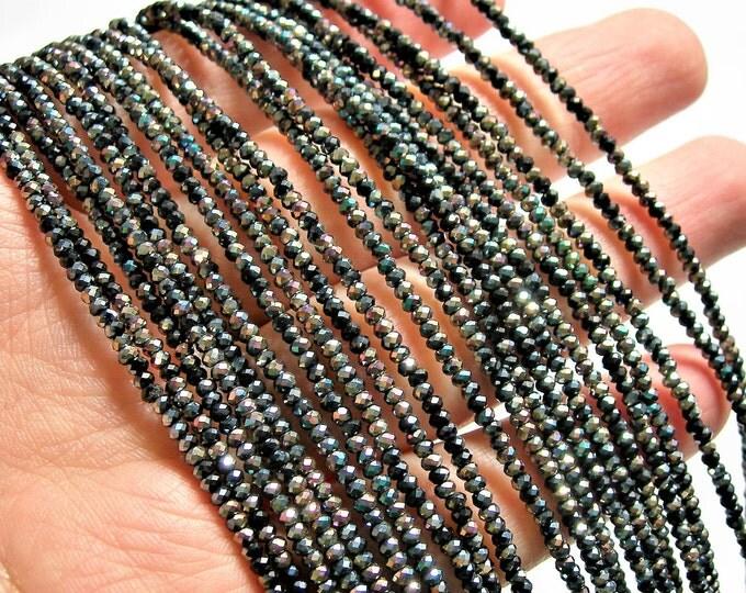 Crystal - rondelle  faceted 1mm x  2mm beads - 200 beads - mystic black full AB - full strand - VSC34
