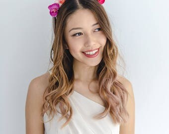 orchid flower crown headband / pink mix // spring racing flower crown headband fascinator, statement floral headpiece